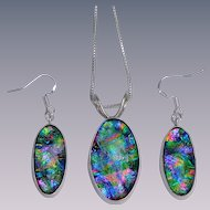 Artisan Dichroic Fused Glass Earrings and Pendant in a silver bezel setting