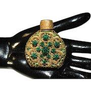Vintage Bohemian Miniature Jeweled Perfume bottle Malachite