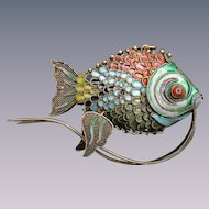 Vintage articulated Chinese bearded fish large Cloisonne pendant
