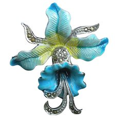 Vintage floral enamel and marcasite blue orchid brooch