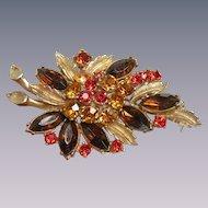 Vintage rhinestone floral brooch signed Sphinx 1950's stunning