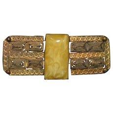 Bohemian Signed  Czechoslovakian brass  filigree and art glass  belt buckle