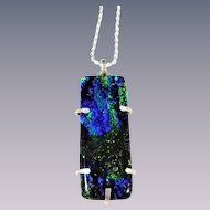 Artisan glass pendant dichroic prong setting sterling silver chain