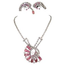 Vintage Juliana Necklace and earrings set.  Dazzling pinks unusual construction,  wire over creation