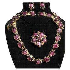 Vintage SPHINX jewelry set, banded amethyst stones necklace, brooch, earrings, bracelet WOW