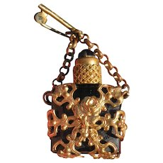 Stunning antique miniature chatelaine perfume bottle in brass and cobalt.