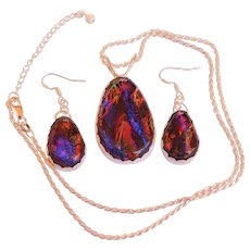 Artisan Dichroic  Glass Earrings and Pendant in a silver bezel setting