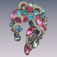 1950's Sphinx rhinestone crescent brooch dazzling pinks blues big brooch