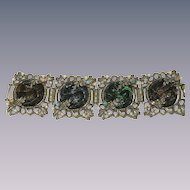 Vintage ornate Gripoix  , poured glass rhinestone  panel bracelet