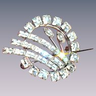 Vintage Carl Art Sterling silver and clear crystal rhinestone pin/pendant