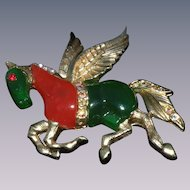 Hattie Carnegie brooch fantasy animal Pegasus