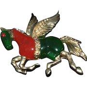 Hattie Carnegie brooch fantasy animal Pegasus