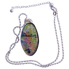 Artisan Dichroic  Glass Pendant in hand made  silver bezel setting