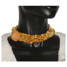 Vintage 45 g Egg Yolk Baltic Amber Carved Flower Pendant 6 strand Choker Necklace