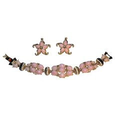 Vintage 1950's Thermoset rhinestone demi parure bracelet and earrings bright pink with grey rhinestones pristine