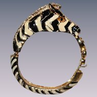 Vintage zebra bracelet rhinestones and enamel stunning condition