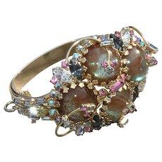 Vintage Saphiret/ sappharine and rhinestone bracelet stunning runway piece