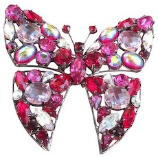 Vintage Butler and Wilson butterfly brooch massive dazzling color show