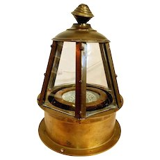 Vintage Brass Skylight Binnacle Yacht Compass