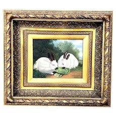 Vintage Gilt Framed Oil on Canvas Rabbit Painting