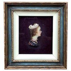 Antique Miniature Wax Portrait of a Young Woman