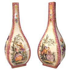Pair of Antique Helen Wolfsohn Dresden Vases