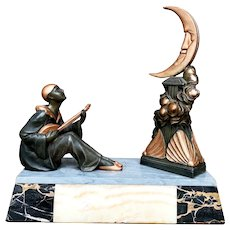 French Art Deco Marble and Spelter Lighted Statue