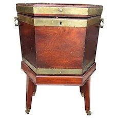 Late 18th century George III Mahogany Hexagonal Brass Bound Cellarette