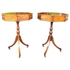 Antique 19th Federal Style Burlwood Octagonal Tripod Table Pair