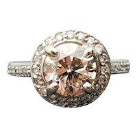 18k White Gold GIA 1.33ct SI-1 Y-Z Diamond Engagement Ring 1.82TCW