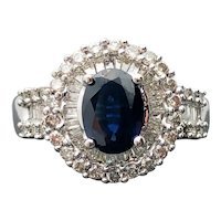 14k White Gold Sapphire and Diamond Ring 2.28TCW