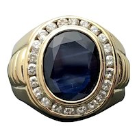 Gent's 14k Yellow Gold Blue Sapphire and Diamond Ring 4.54TCW 12.10g
