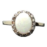 Large 14k White Gold Opal and Diamond Ring 4.12TCW 10.8 grams