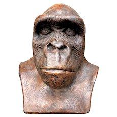 Large Ceramic Silverback Gorilla Bust by Anne-Jo 1984