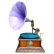 "Antique French Pathe ""Number 4"" Gramophone"