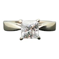 18k White Gold Princess Diamond Engagement Ring Solitaire 1.01cts