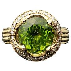 14k Yellow Gold Peridot and Diamond Ring 4.77TCW