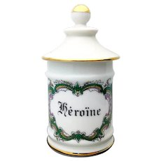 Vintage Limoges French Porcelain Small Apothecary Jar Heroine