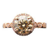 $12200 14K 1.60ct GIA Fancy Light Brown Diamond Engagement Ring 1.80TCW