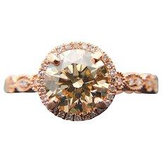 $12200 14K 1.60ct GIA Fancy Light Brown Diamond Engagement Ring 1.80TCW