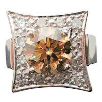 $30500 14k GIA 2.80ct Fancy Brown Yellow Diamond Ring 3.20TCW