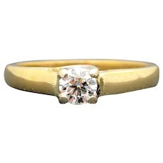 18k Yellow Gold IGI 0.31ct SI-1 G Diamond Engagement Ring