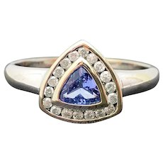 14k White Gold Tanzanite and Diamond Ring 0.47TCW