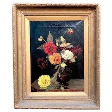 Antique 19thC Signed Flowers Still Life Oil Painting & Gilt Frame