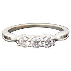 $1775 18k White Gold Diamond Trinity Ring 0.36TCW