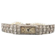 $8800 Platinum Old Euro Diamond and Pearl Swiss Watch 3.51TCW