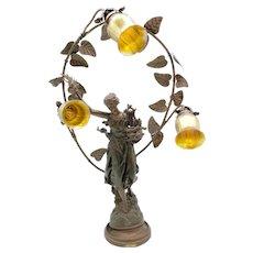 French Art Nouveau Metal Figured Lamp w/ Quezal Art Glass Shades
