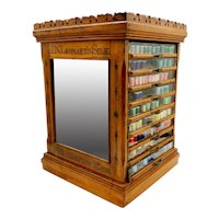 Antique Walnut Glass Front and Mirrored 9 Drawer Spool Cabinet