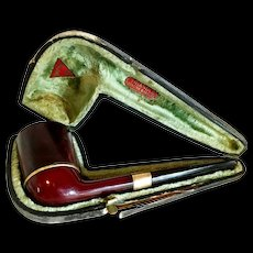 Triangle Brand Bakelite 14k Gold Plated Pipe w/ Case