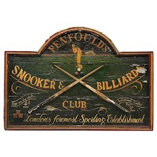 Vintage Primitive Wood English Billiards Sign